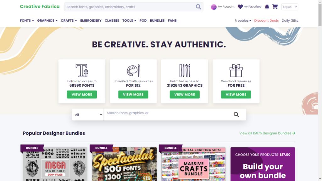 CreativeFabricaHomeScreen