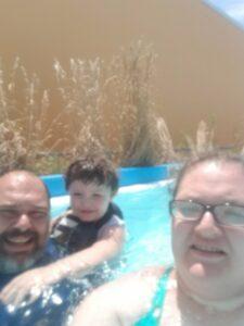 Family Selfie In Lazy River at Hurricane Harbor